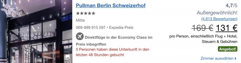 Berlin Flug 3 Nachte Im 5 Pullman Hotel Fur 131 Pro Person