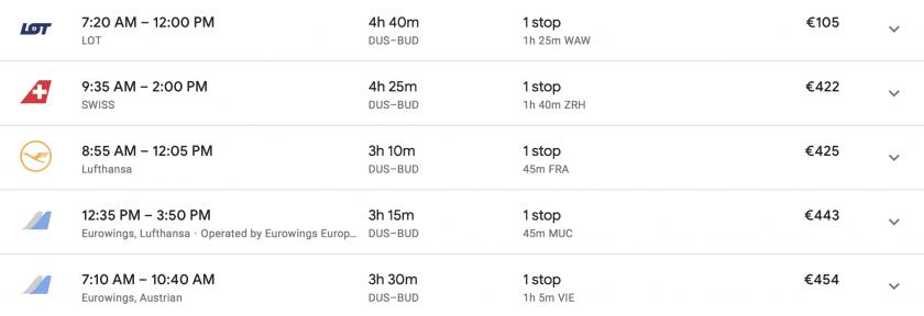 google flights Preisvergleich dus-bud oneway