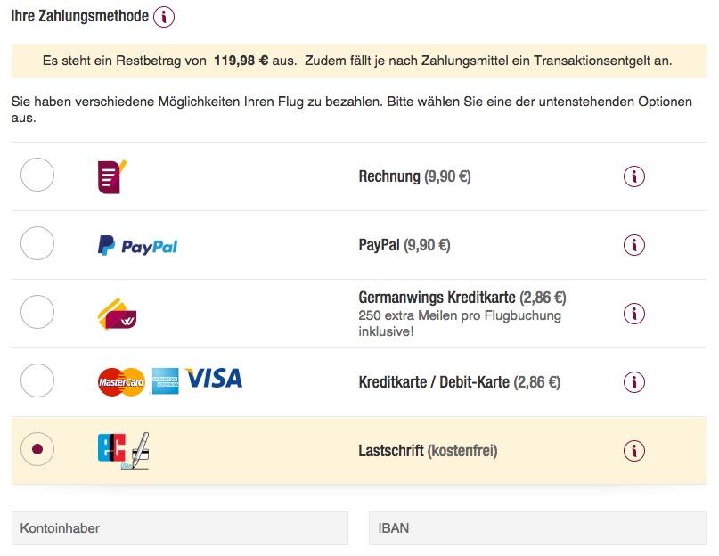 Germanwings Zahlungsarten