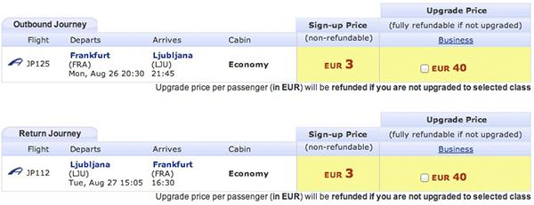 Mein Preis für mein Flug von Frankfurt/Main nach Ljubljana wäre 43 Euro.