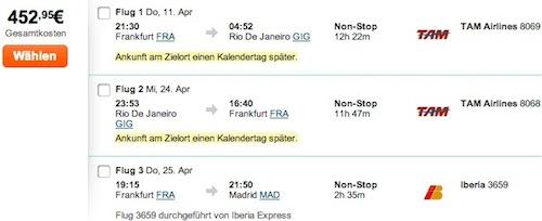 Beispiel: Flüge nach Rio de Janeiro mit Schwanzflug von Frankfurt/Main nach Madrid