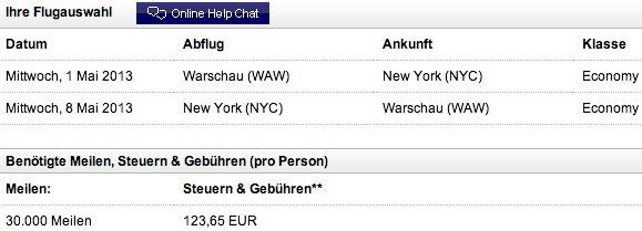 New York für 30.000 Meilen + 124 Euro Steuern&Gebühren