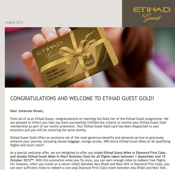 Willkommen zu Etihad Guest Gold