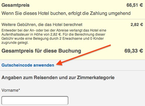 Gutscheinfeld bei Hotels.com Mobile