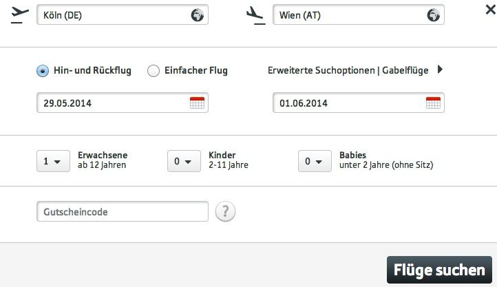 Austrian Airlines Gutscheinfeld