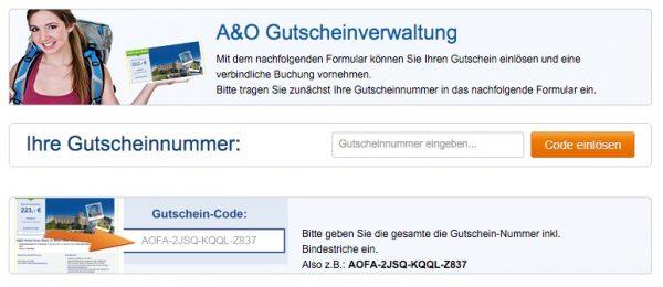 A&O Voucher einlösen