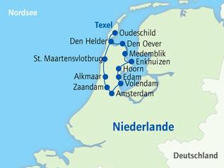 Reiseroute Rad & Schiff Niederlande
