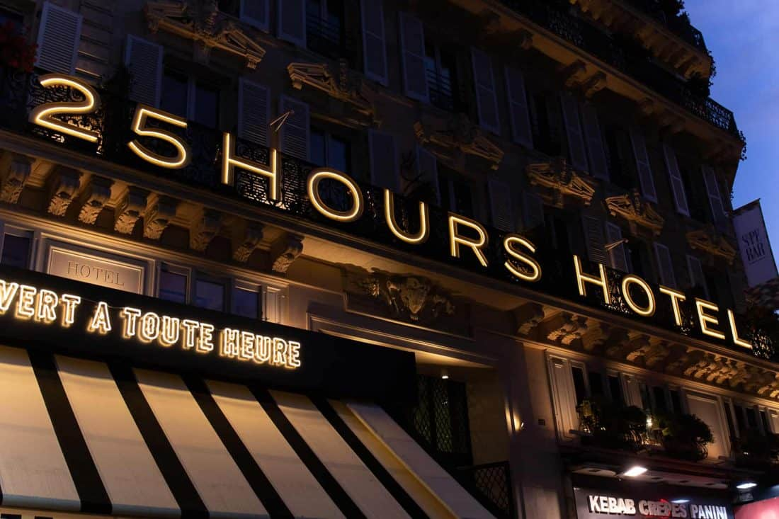 25hours Hotel Paris Front Night Closeup