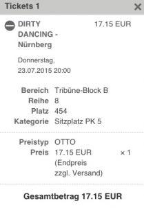 Ticketmaster Dirty Dancing Platzkategorie 5