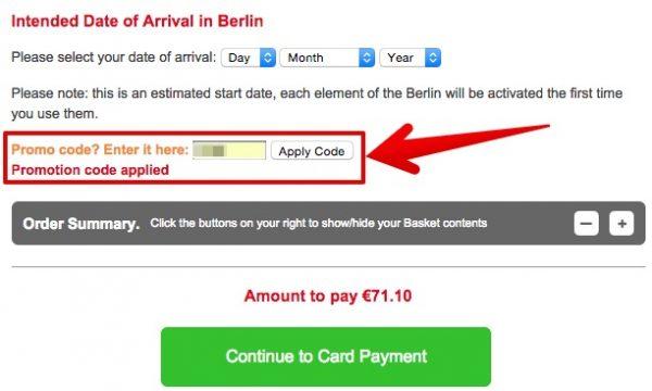Berlin Pass Gutscheinfeld