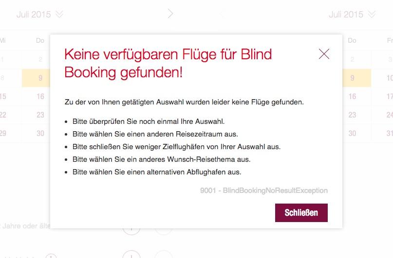 Germanwings Blind Booking Keine verfügbaren Flüge