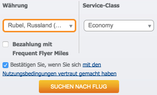 Aeroflot.com Währung Rubel