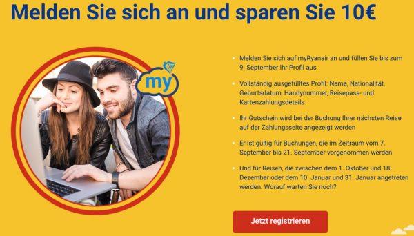 Ryanair Gutschein 10€