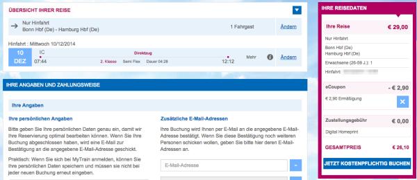 29€ Sparpreis der Deutschen Bahn für 26,10€