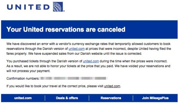 United Airlines Email Stornierung