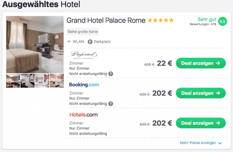 Skyscanner Grand Hotel Palance Rom