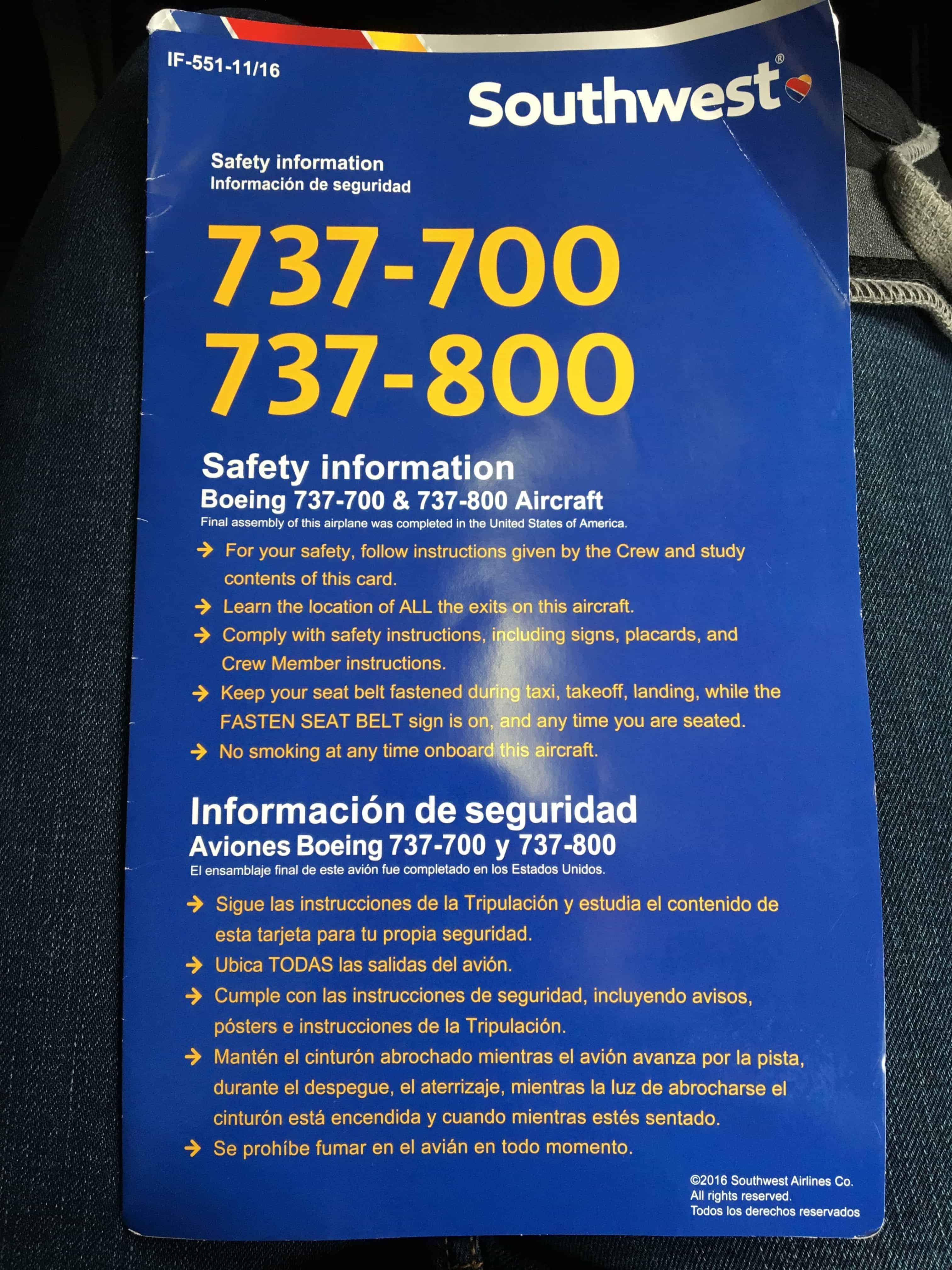 Southwest Safety Card