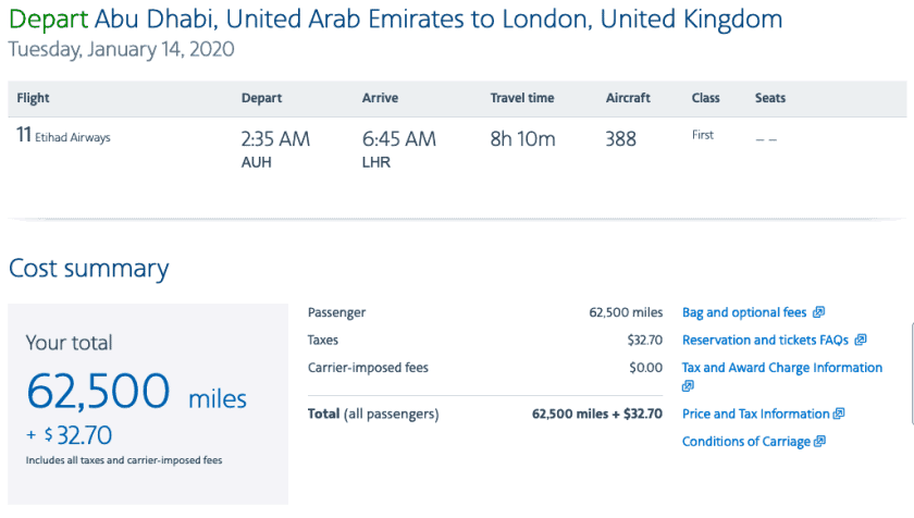 AAdvantage Etihad First Apartment AUH LHR