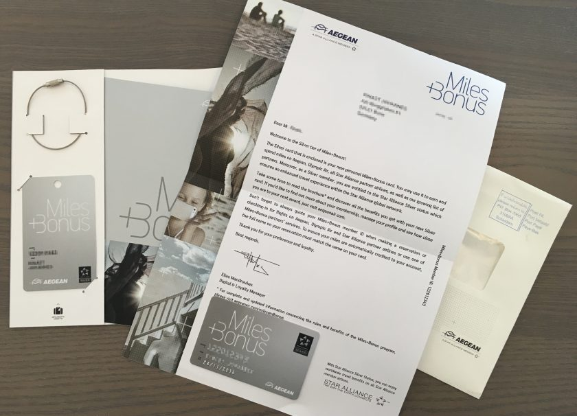 Aegean Airlines Miles+Bonus Welcome Kit Silver