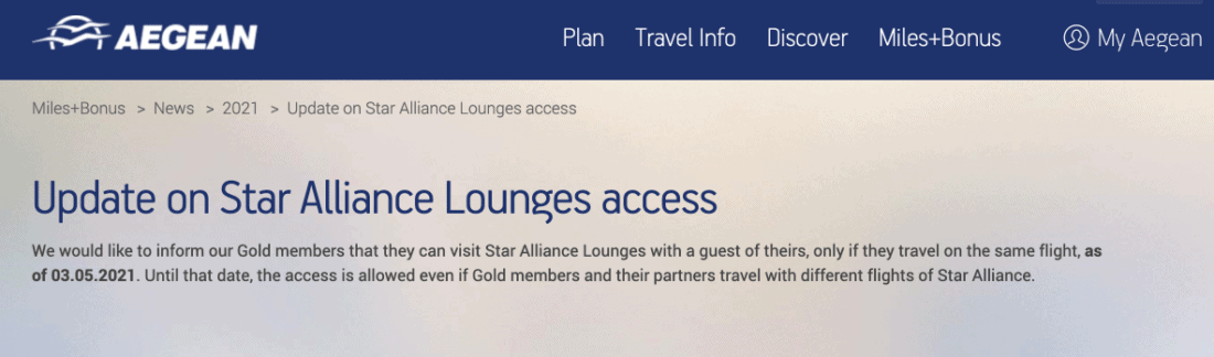 Aegean Lounge Zugangsregeln ab Mai 2021