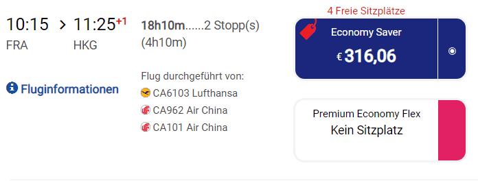 Air CHina verfügbare plätze