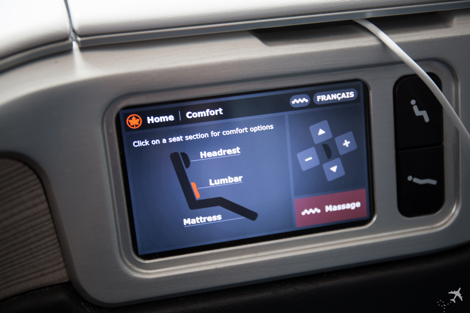 Air Canada Boeing 787-9 Business Class Control Comfort Lumbar