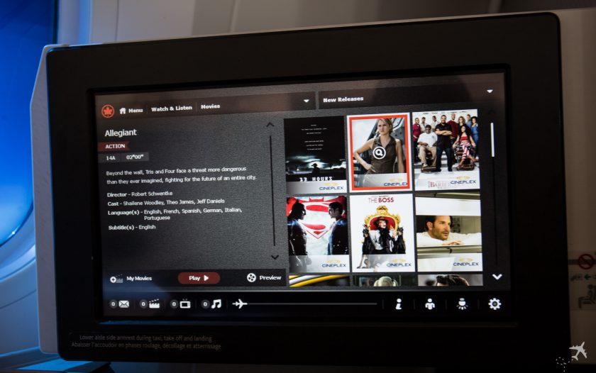 Air Canada Boeing 787-9 Business Class IFE Filme