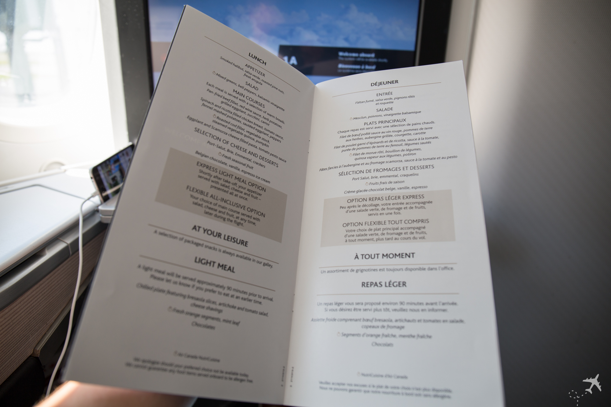 Air Canada Boeing 787-9 Business Class Speisekarte Lunch