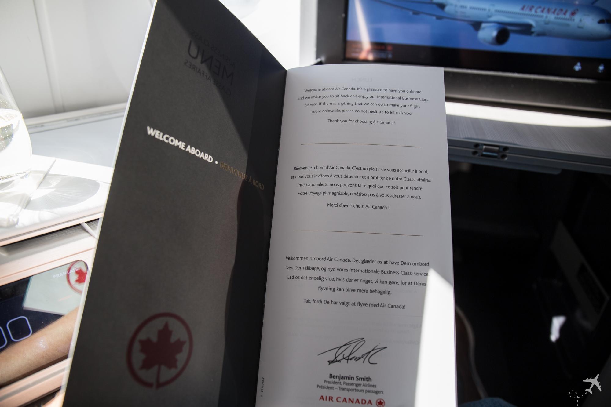 Air Canada Boeing 787-9 Business Class Speisekarte