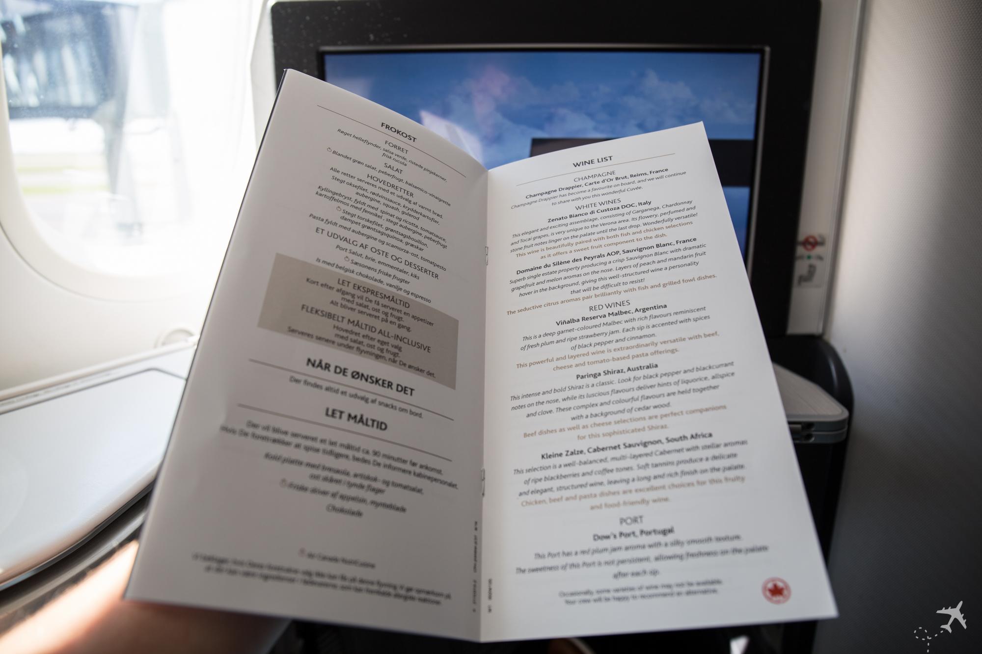 Air Canada Boeing 787-9 Business Class Speisekarte Wine List