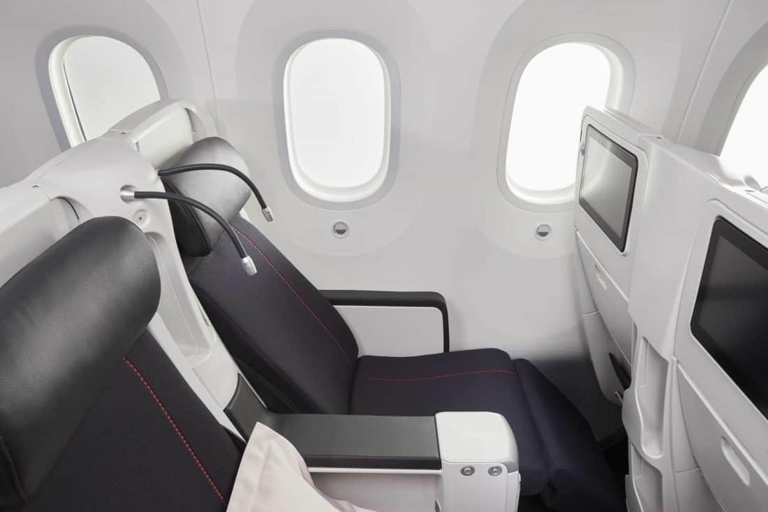 Air France Premium Economy Sitze ausgefahren