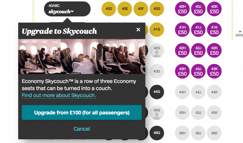 Air New Zealand Upgrade Skycouch