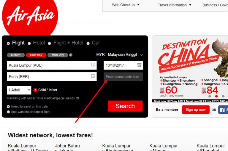 AirAsia Gutscheinfeld