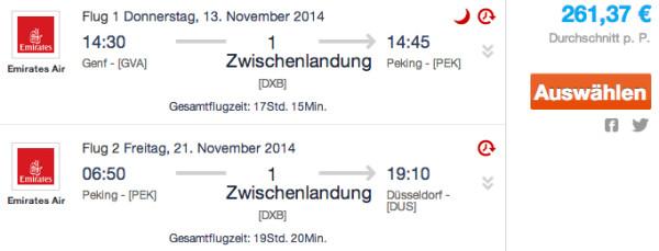 Genf - Peking - Düsseldorf für 281€ mit Emirates