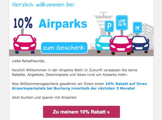 Airparks Newsletter Gutschein