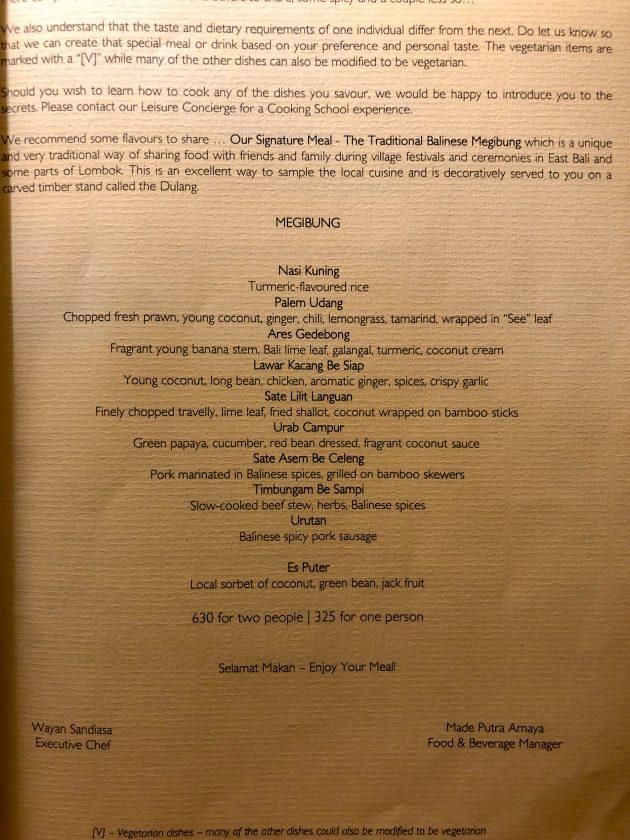 Alila Manggis Hotel Bali Abendessen Megibung Karte