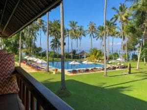 Alila Manggis Hotel Bali Zimmer Blick Pool