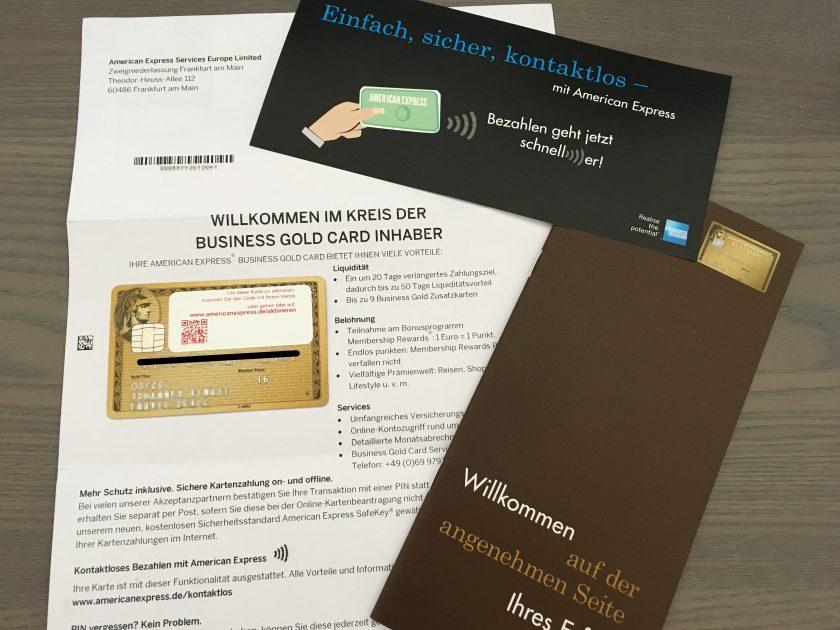 American Express Business Gold Willkommen