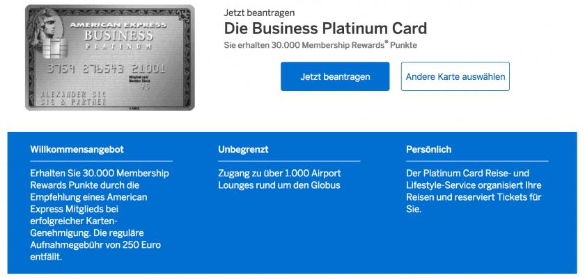 American Express Business Platinum Freundschaftswerbung