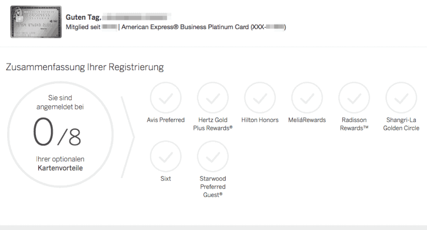 American Express Platinum Benefits Registrierung
