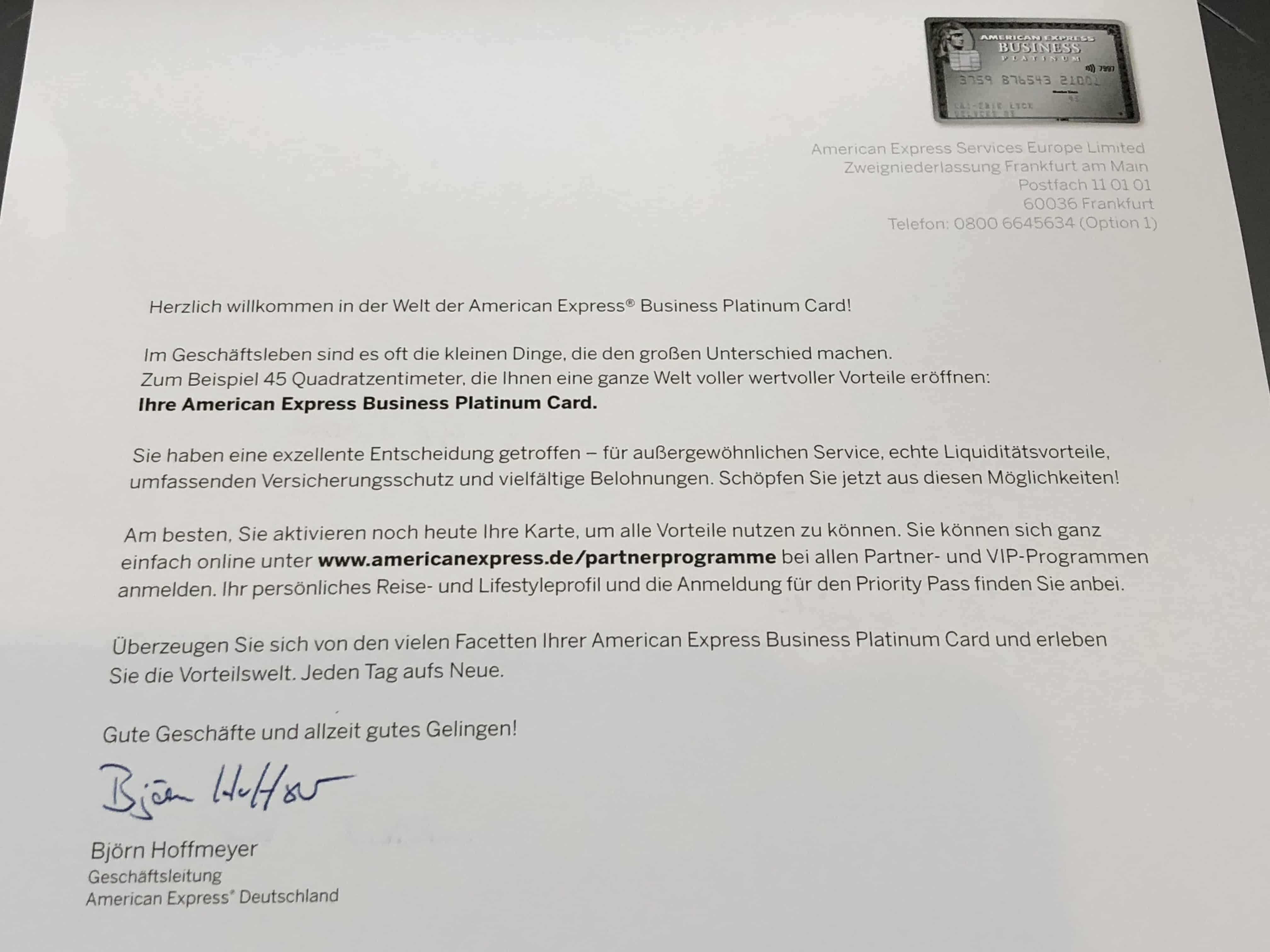 American Express Platinum Card Willkomensschreiben