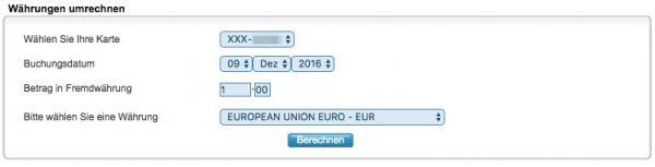 Währung umrechnen bei American Express