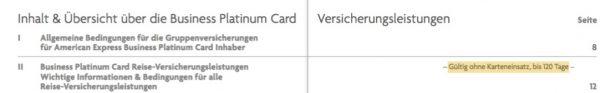 Amex Business Platinum Card Versicherungen ohne Karteneinsatz