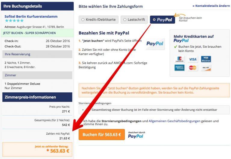 Amoma Gebühr Zahlung PayPal/Lastschrift