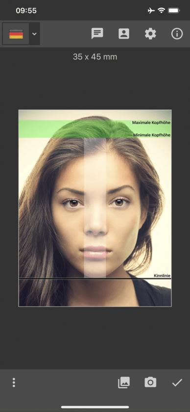 App Biometrisches Passbild Kamera