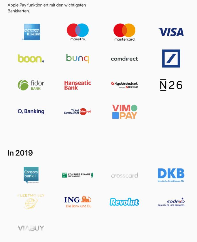 Apple Pay verfügbare Karten