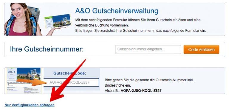A&O Gutschein Verfügbarkeit