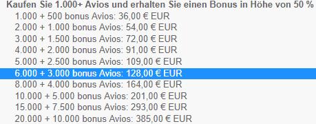 Avios 50 Bonus kaufen