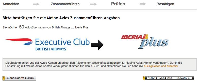Avios zusammenführen bestätigen