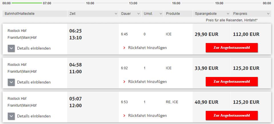Bahn Bestpreissuche Sortierung